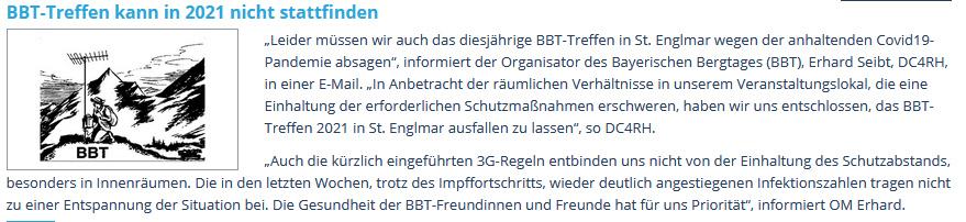 Absage BBT-Treffen 2021